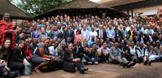 The CBA9 participants gather for a group photo on the final day of the conference, shortly after the Nairobi Declaration was announced (Photo: Matt Wright/IIED)