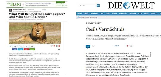 IIED's guest blog on the issues surrounding Cecil the Lion was picked up by The Huffington Post and prompted an essay in Die Welt (Image: IIED)