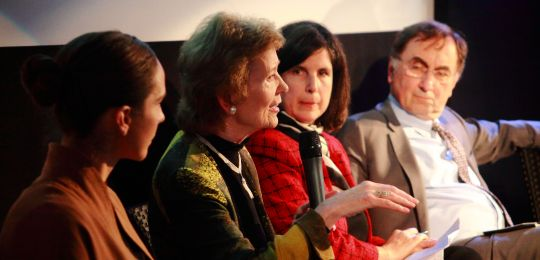 Mary Robinson addresses the Development and Climate Days, with (from left to right), Katharine Mach, IPCC; Claudia Martinez, CDKN; Janos Pasztor, UN (Photo: Climate Centre, Creative Commons via Flickr)