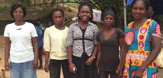 Women including mining engineer Judith Akorfa Buaba (centre) employed at the Dakete mine, in Ghana (Photo: Gabriela Flores Zavala)