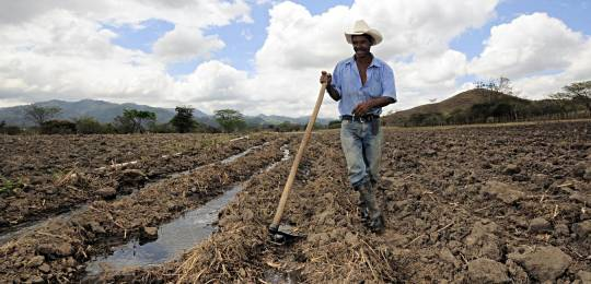 A maize farmer near Alauca, Honduras, takes a break from digging irrigation channels.  Climate change is expected to have a big impact on Central American crops and farmers and decision makers need information on climate change adaptation.  (Photo: Neil Palmer/CIAT via creative commons)