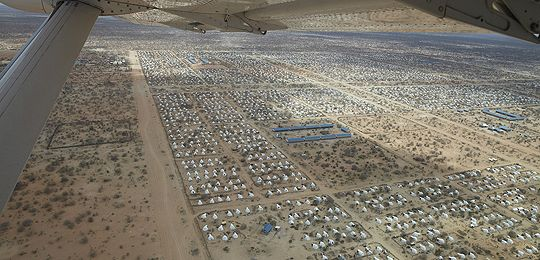 An image taken from a plan showing a vast number of buildings and tents: An aerial view of what was in 2011 the world's largest refugee camp, in Dadaab, Kenya (Photo: Oxfam International)