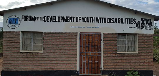 An image of the front of the Forum for the Development of Youth with Disabilities, set up by Fatima Kalima, provides education to disadvantaged children with disabilities in Blantyre (Photo: Steve Sharra)