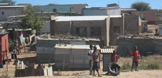 Community reblocking to improve settlement design and the quality of the neighbourhood in Namibia (Photo: Diana Mitlin/IIED)