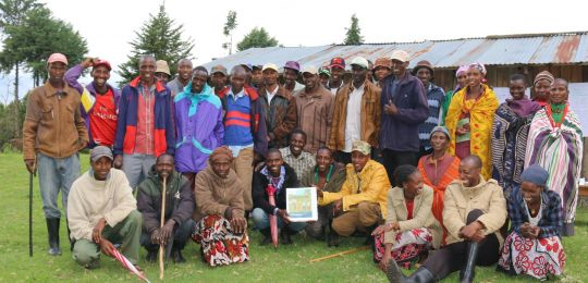 Meeting of the Ogiek community of Sasimwani to review their draft by-laws (Photo: Namati / Jaron Vogelsang)