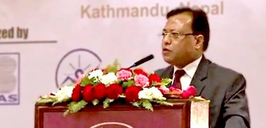 Prakash Mathema speaking at the opening ceremony of the 8th annual conference on community-based adaptation to climate change (CBA8) held in Kathmandu, Nepal in April 2014 (Photo: IIED)