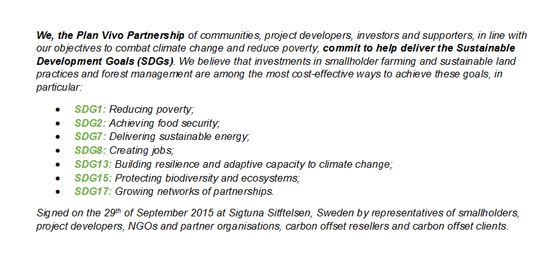 The text of the SDGs commitment signed up to by Plan Vivo partners in Sweden (Image: Plan Vivo Foundation)