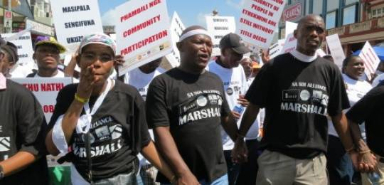 Shack dwellers from the eThekwini municipality protesting in Durban (Photo: Slum/Shack Dwellers International)