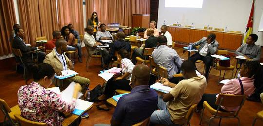 Workshop participants in Mozambique discuss results from group work on how to make farming more sustainable (Photo: Lynn Boyd, ADRA Mozambique)