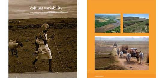 The cover and an extract from the book 'Valuing variability – new perspectives on climate resilient drylands development'' (Image: IIED)