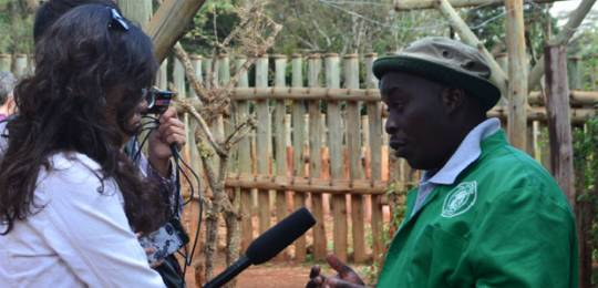 Chinese journalists interview a project manager of Nairobi Elephant Orphan Nursery (Photo: YiDe Media)