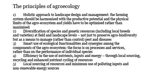 A table showing the principles of agroecology