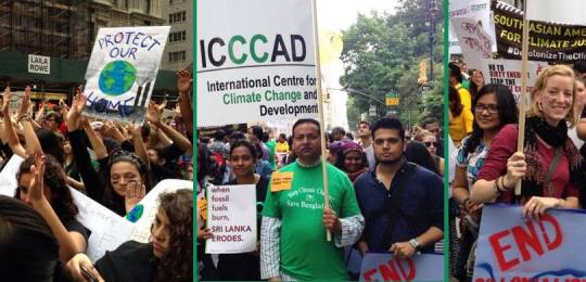 Marchers, including Saleemul Huq, at the New York climate change march (Photos: IIED)
