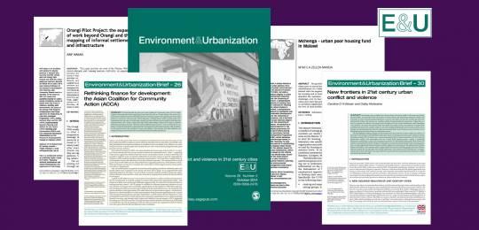Covers of Environment and Urbanization publications