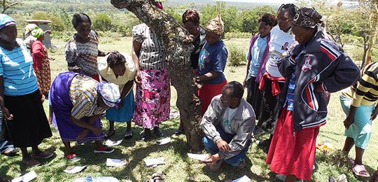 A women's group in Kenya scores social impacts of protected areas using a participatory rural appraisal method (Photo: Phil Franks/IIED)