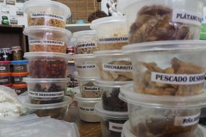 An image of labelled tubs, taken at the headquarters of the Proyecto Communitario Conservación Alimentario, in Havana. Testing naturally preserving techniques is vital to stretch seasonal produce supplies throughout the year (Photo: Khanh Tran-Thanh/IIED)