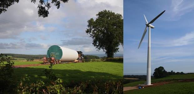 The St Briavels wind turbine in construction (left) and completed (right). Source: Abundance