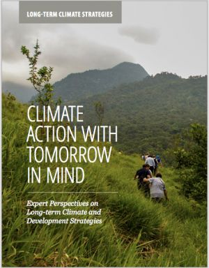 The front cover of the book 'Climate Action with Tomorrow in Mind: Expert Perspectives on Long-term Climate and Development Strategies