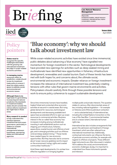 Cover of 'Blue economy': why we should talk about investment law