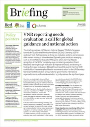 Cover of VNR reporting needs evaluation: a call for global guidance and national action