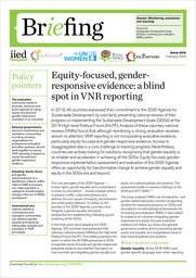 Cover of Equity-focused, gender-responsive evidence: a blind spot in VNR reporting