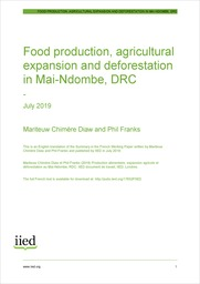 Food production, agricultural expansion and deforestation in Mai-Ndombe, DRC