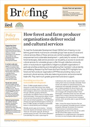 How forest and farm producer organisations deliver social and cultural services