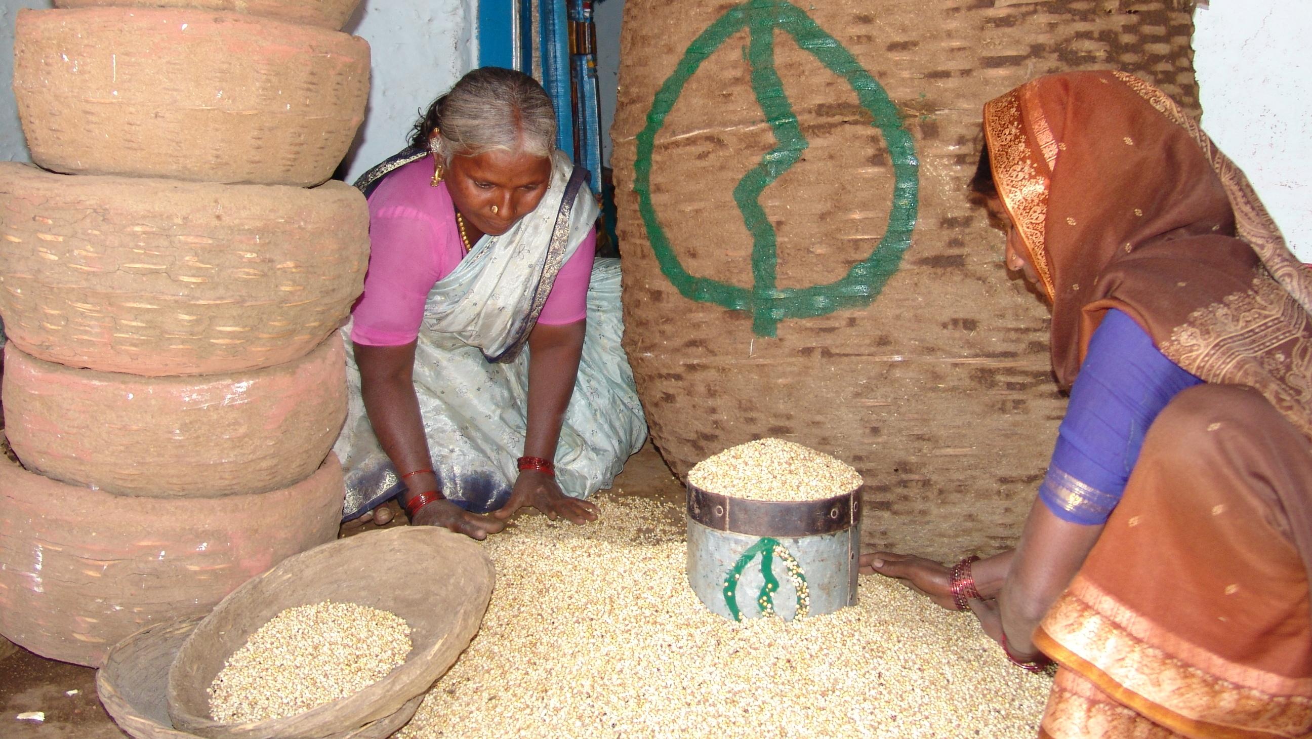 Women distributing seeds in Andhra Pradesh, India (Photo: Deccan Development Society)