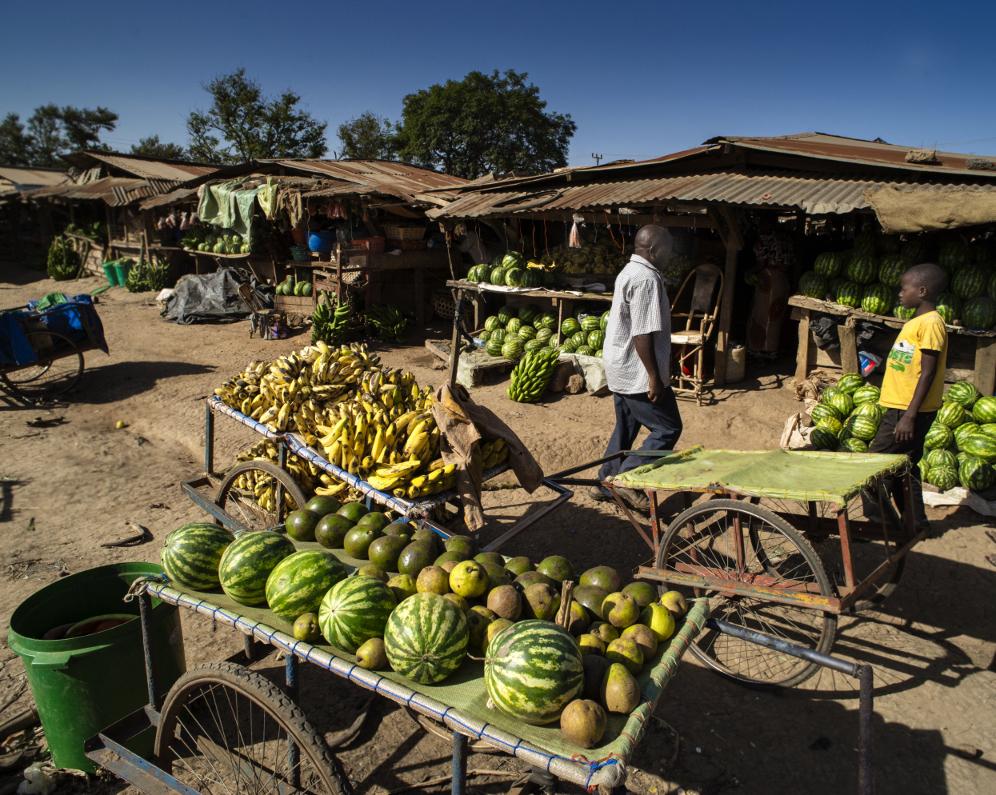 Market stalls in Geita town, Tanzania (Photo:Brian Sokol/Panos Pictures)