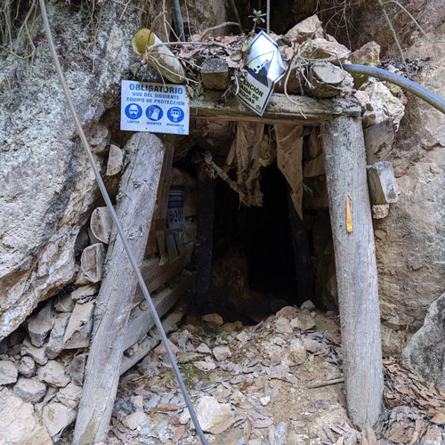 Small wooden entrance of an artisanal mine