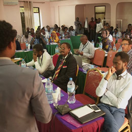 IIED's Fitsum Weldegiorgis presents at the action dialogue on artisanal and small-scale mining in Tanzania (Photo: Steve Aanu)