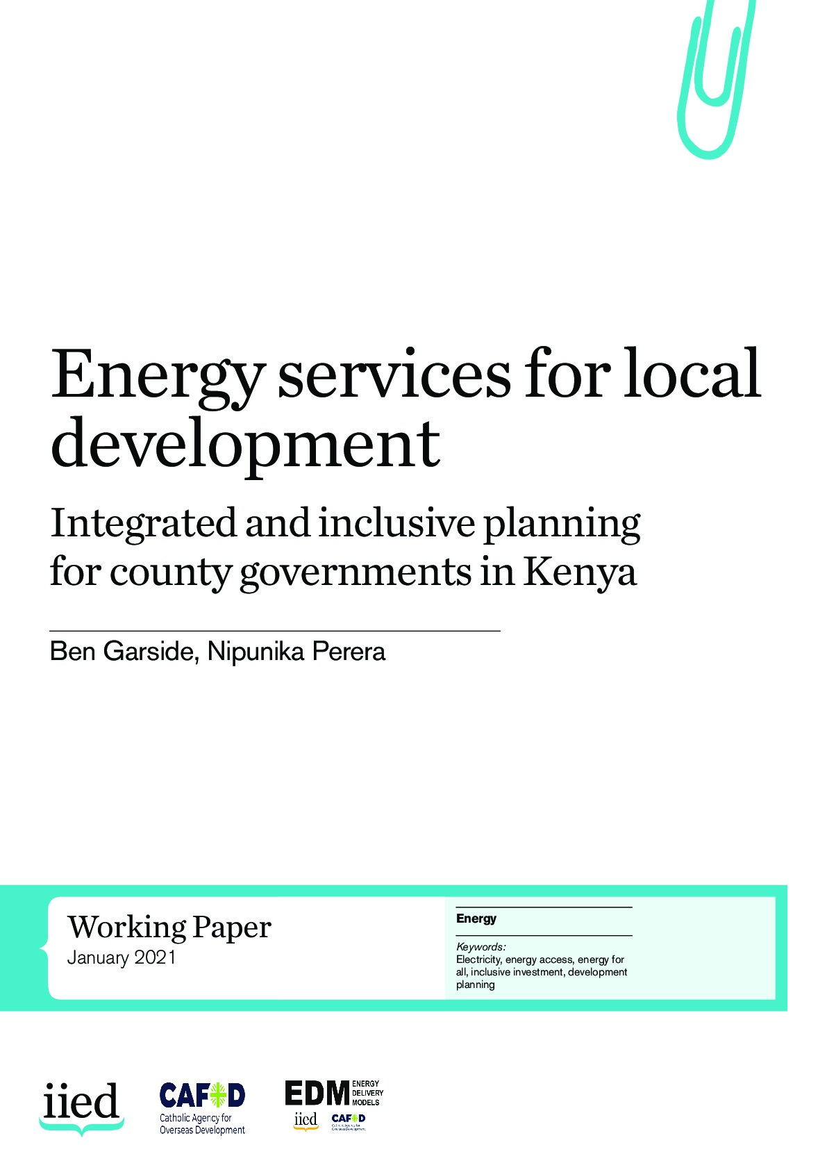 Energy services for local development: integrated and inclusive planning for county governments in Kenya
