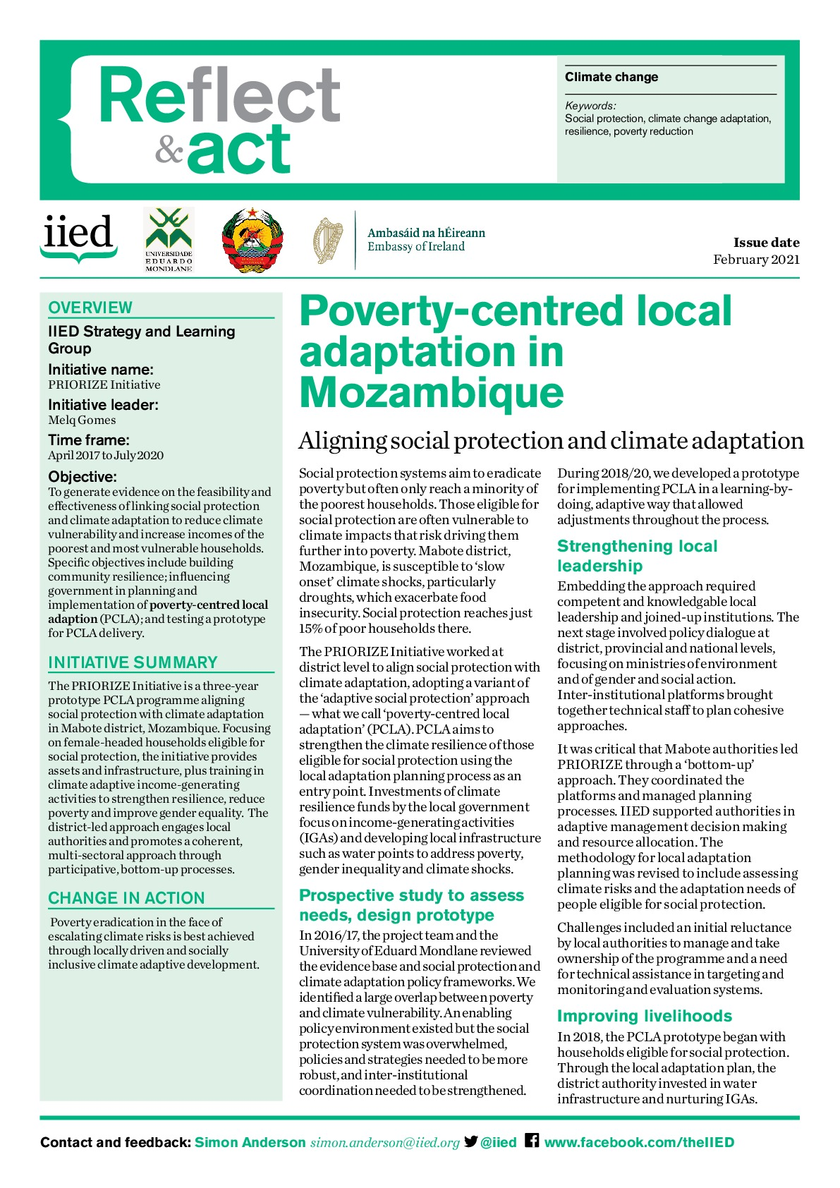 Poverty-centred local adaptation in Mozambique
