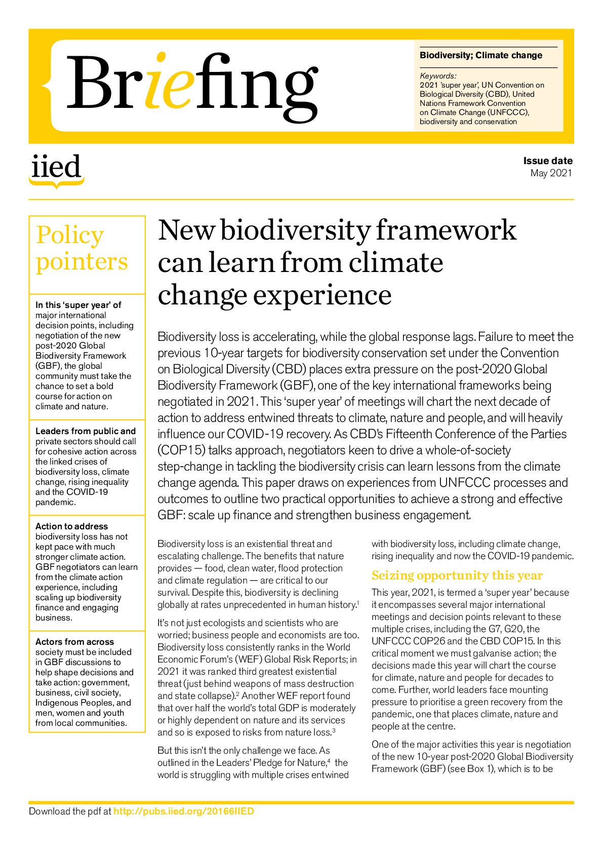 New biodiversity framework can learn from climate change experience