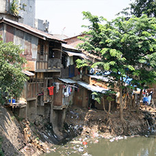 Informal settlements on river bank