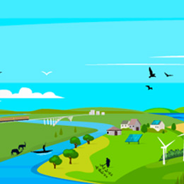Landscape illustration depicting a climate-resilient future