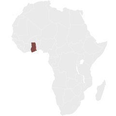 Map showing Ghana