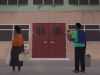 Animation of a two people with bags in front of a building