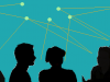 Silhouettes of people talking