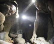 Miners work deep within a tunnel at Nsangano gold mine in the Geita District (Photo: copyright Brian Sokol/Panos Pictures)