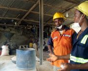 Workers at the Dakete Gold Mine explain health and safety procedures in a powdering station. The IIED dialogue aimed to engage key stakeholders, including mineworkers, in a conversation about the future of ASM mining in Ghana (Photo: Friends of the Nation)