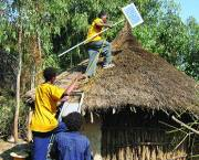 A house in Rema gets fitted with solar panels.