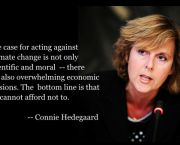 Connie Hedegaard stressed the importance of setting tough targets for reducing carbon emissions when she gave the 2010 Barbara Ward Lecture