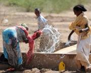 Ethiopian children play in the water of a well