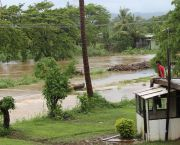 "Flooding in Fiji. Fiji's prime minister has said the his nation is in ""a fight for survival"" as climate change brings almost constant cyclones. (Photo: TC Evans/Fijian Government)"