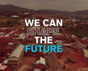 "Aerial view of poor community. Overtext reads ""We can shape the future"""