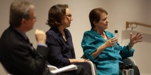 IIED's Andrew Norton and IIED chair Rebeca Grynspan with Gro Harlem Brundtland sit at the front of the Barbara Ward lecture on 19 June 2018