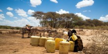 Woman filling jerry cans with water