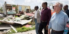 UN Secretary-General António Guterres (front right) surveys hurricane damage in Barbuda with Gaston Browne (centre), Prime Minister of Antigua and Barbuda (Photo: UN Photo)