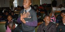 A young parliamentarian addresses the Shadow Children's Parliament in Lesotho, Credit: World Vision Lesotho
